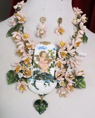 7077 Set Cherub Baroque Fountain Dangle Flowers Unique Necklace + Earrings
