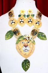 7078 Art Jewelry Vivid Hand Painted Lions Genuine Tiger Eye Gemstones Necklace