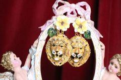 7079 Baroque Hand Painted Enamel Lions Earrings