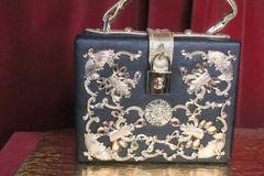 6374 Baroque Gold Embellished Flower Trunk Crossbody Handbag