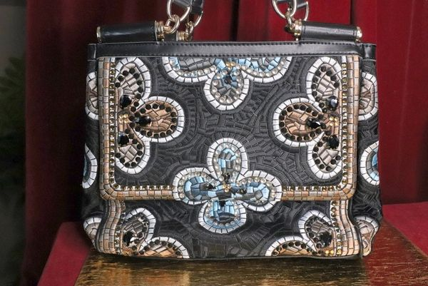 6284 2 Colors Genuine Leather Mosaic Large Handbag