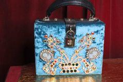 6259 Velvet Baroque Cameos Elegant Trunk Handbag
