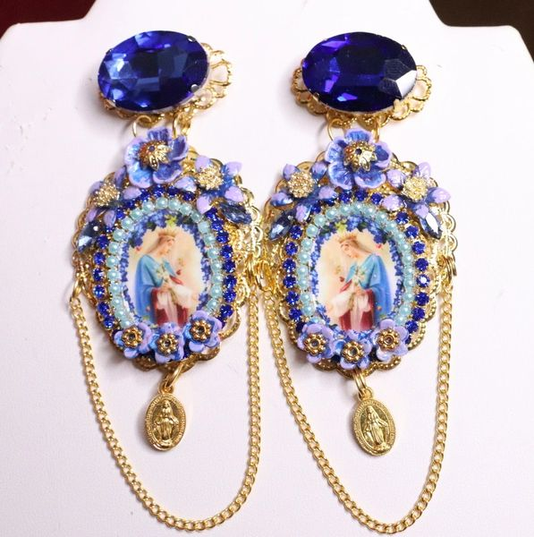 7091 Virgin Mary Blue Viola Rhinestones Earrings