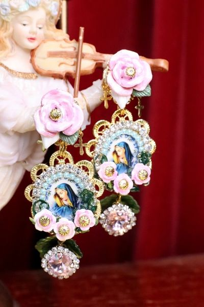7093 Virgin Mary Delicate Blue Cameo Roses Rhinestones Earrings