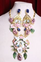 7099 Virgin Mary Icon Cameo Doves Flower Massive Necklace