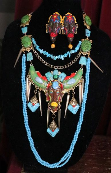 7118 African Revivial Genuine Turquoise Jasper Gemstones Hand Painted Mask Unique Necklace