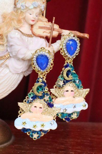 7135 Baroque Raphael Cherub Angel Clouds Moon Earrings