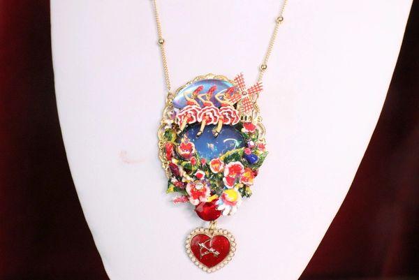 7137 Enamel Genuine Opal Necklace