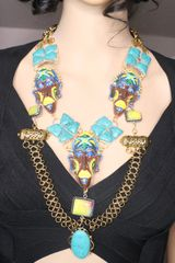 7143 African Revivial Genuine Turquoise Jasper Gemstones Hand Painted Mask Unique Necklace