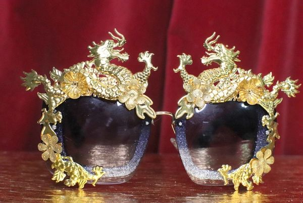 SOLD! 7149 Baroque Gold Asian Dragons Embellished Sunglasses