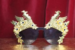 7150 Baroque Gold Asian Peacock Embellished Sunglasses