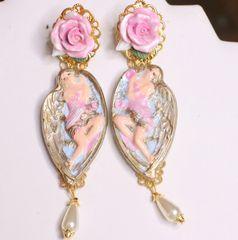 7163 Baroque Winged Goddess Roses Light Weight Studs Earrings