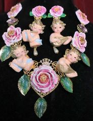 7168 Baroque Musical Cherubs Angels Pastel Roses Hand Painted Necklace