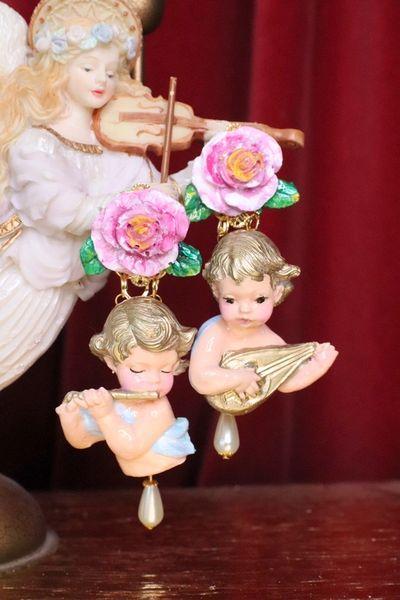 7169 Baroque Musical Cherubs Angels Pearl Studs Earrings