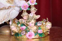 7170 Baroque Cherub Angel Black Rhinestones Headband Crown