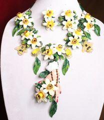 7172 Set Of Art Nouveau Vivid Hand Dona Anna Flower Hand Painted Necklace+ Earrings