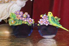 7174 Art Nouveau Vivid Parrot Flower Embellished Sunglasses