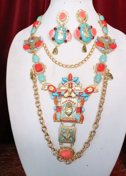 7182 Egyptian Revival Genuine Turquoise Festive Pharaoh Huge Tall Necklace
