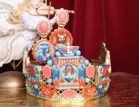7183 Set Of Egyptian Revival Genuine Turquoise Stunning Headband Crown+ Earrings