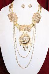 7185 Set Of Roman Revival Sun Moon Horses Gold Tone Necklace+ Earrings
