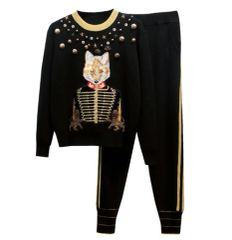 7187 3 Colors Runway 2020 Sport Chic Victorian Fox Embroidery Twinset