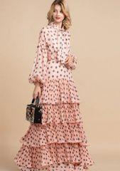 7188 Runway 2020 Polka Dot Layered Maxi Dress