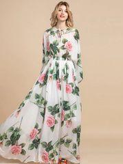 7189 Runway 2020 Rose Print Sheer Dress