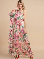 7190 Runway 2020 Rose Peony One Shoulder Print Sheer Dress