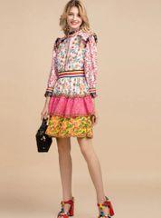 7192 Runway 2020 Boho Folk Patchwork Floral Print Mini Dress