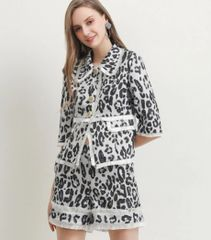 7195 Runway 2020 Leopard Print Fancy Blazer+ Shorts Twinset