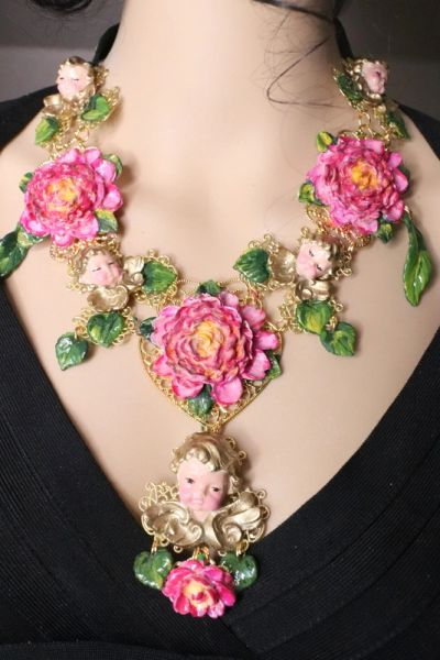 RESERVED 7197 Baroque Sleeping Cherubs Angels Peony Hand Painted Necklace