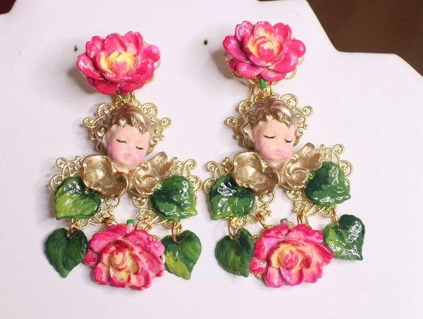 RESERVED 7198 Baroque Sleeping Cherubs Hand Painted Roses Earrings