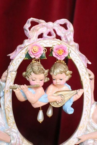 7199 Baroque White Roses Musical Cherubs White Ribbon Studs Earrings