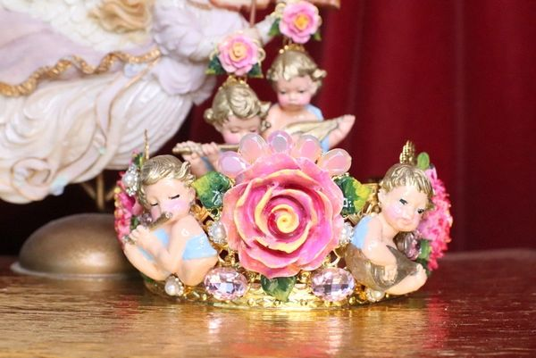 SOLD! 7200 Baroque Musical Cherubs Angels Roses Peony Headband Crown