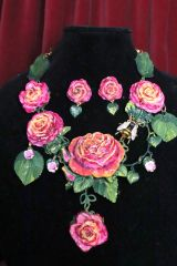 7201 Set Of Art Nouveau Vivid Roses Bee Hand Painted Necklace+ Earrings