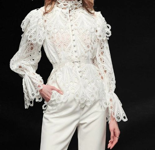 6628 Runway 2019 2 Colors Cut Out Embroidery Victorian Top Blouse