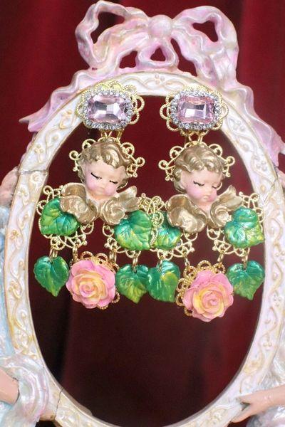 7202 Baroque Sleeping Cherubs Hand Painted Roses Earrings