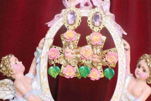 7203 Baroque Sleeping Cherubs Hand Painted Roses Cross Earrings