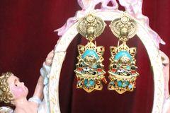 7204 Egyptian Revival Genuine Turquoise Pharaoh Evil Eye Earrings