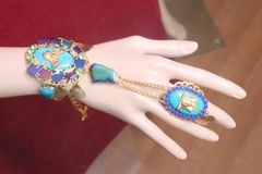 7216 Egyptian Revival Genuine Turquoise Slave Adjustable Bracelet