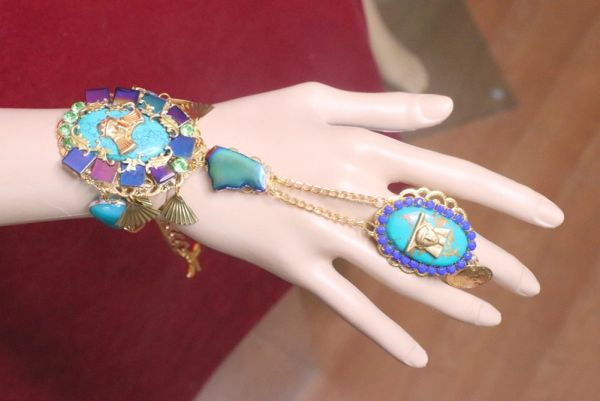 7216 Egyptian Revival Genuine Turquoise Slave Adjustable Bracelet