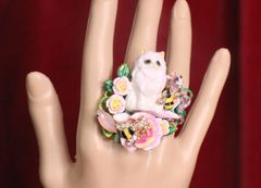 7219 Baroque Art Jewelry Kitty Cat Cocktail Adjustable Ring