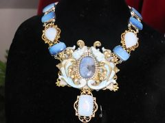 SOLD! 7221 Medieval Dragons Genuine Opal Merine Blue Dendritic Gemstones Hand Painted Mask Unique Necklace