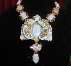SOLD! 7223 Medieval Dragons Genuine Opal Larimar Mother Of Pearls Gemstones Necklace