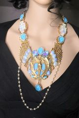 SOLD! 7224 Roman Winged Goddess Iridescent Unique Necklace