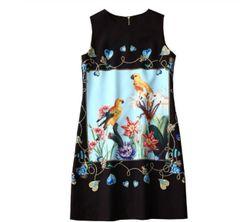 7225 Runway 2020 Love Birds Parrots Print Elegant Black Mini Dress
