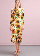 7226 Runway 2020 Sunflower Print Elegant Mermaid Midi Dress