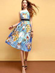 7227 Runway 2020 Novelty Print Elegant Midi Dress