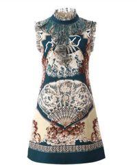 7228 Runway 2020 Novelty Victorian Fan Print Mini Dress