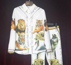 7231 Runway 2020 Animal Print Fancy Shirt+ Pants Twinset